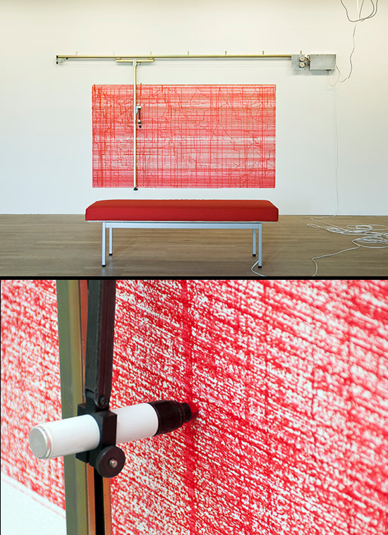 Drawing machine with red lipstick drawing by Angela Bulloch
