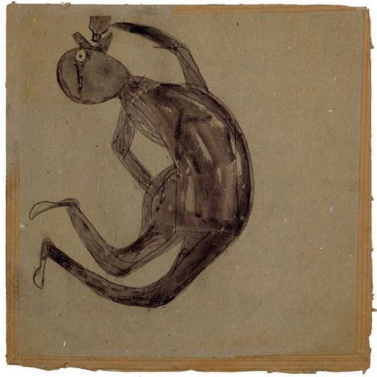 Drawing of a man drinking by Bill Traylor