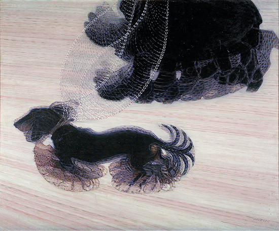 Painting by Giacomo Balla of a dog in motion