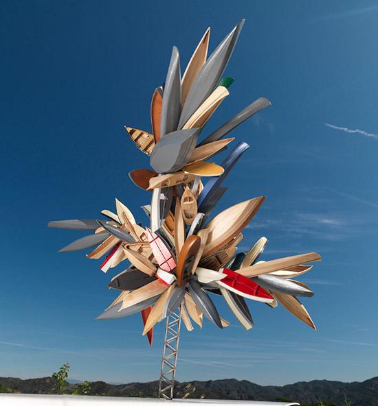 Artist Nancy Rubins, sculpture made from boats
