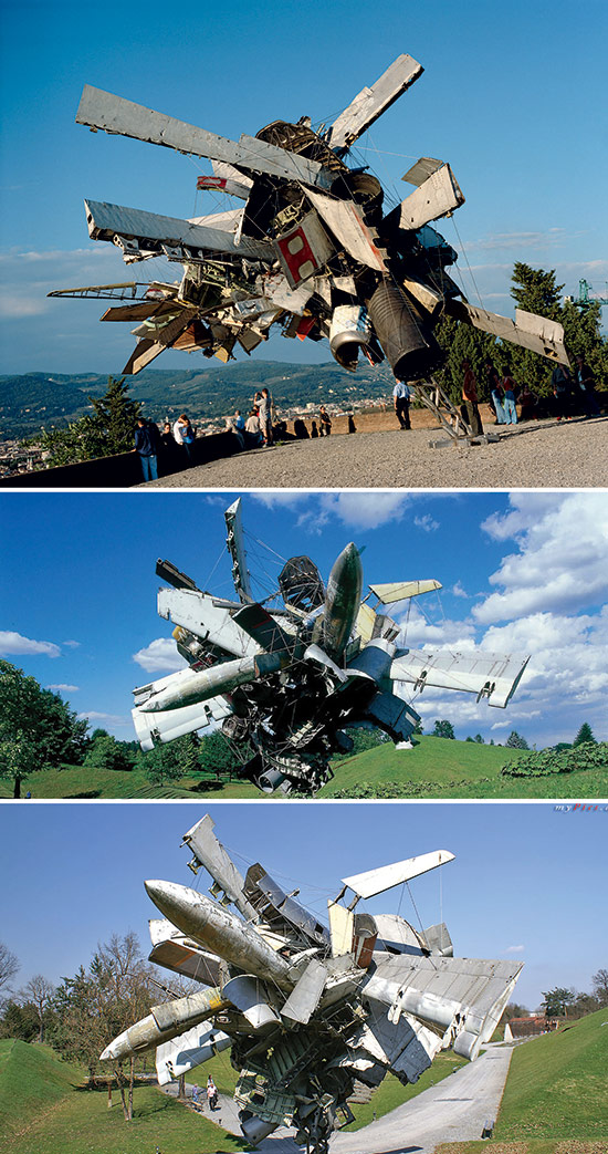 Artist Nancy Rubins, sculpture made from old airplane parts