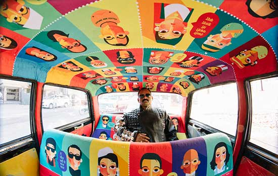 Decorated taxi by Namrata Gosavi and Taxi Fabric