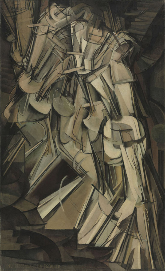 Abstract painting by Marcel Duchamp of Nude Descending a Staircase