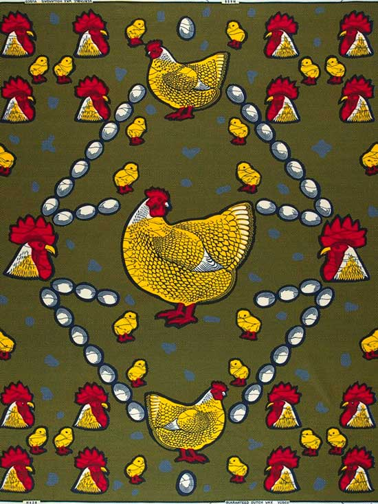 Vlisco fabric with chickens and roosters