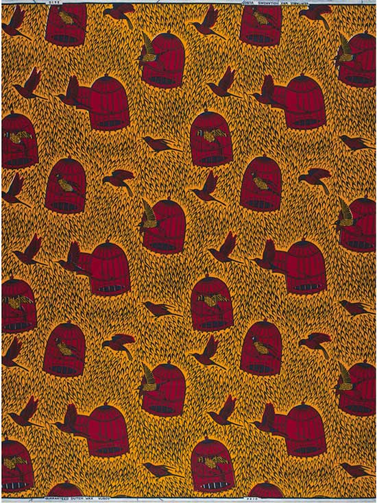 Vlisco fabric with repeats of birds and empty birdcages