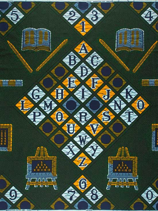 Vlisco fabric using the ABCs as design elements