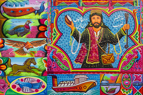 detail from elaborately decorated truck