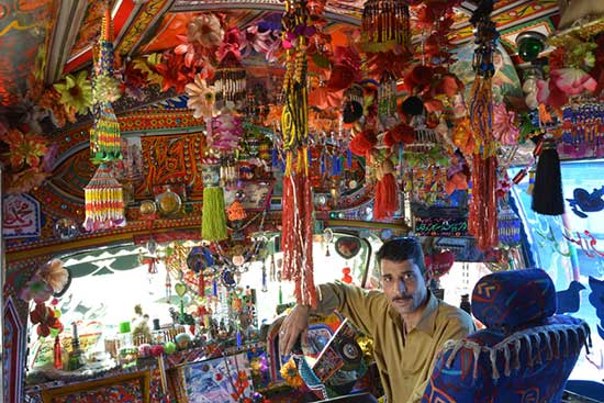 interior of elaborately decorated truck