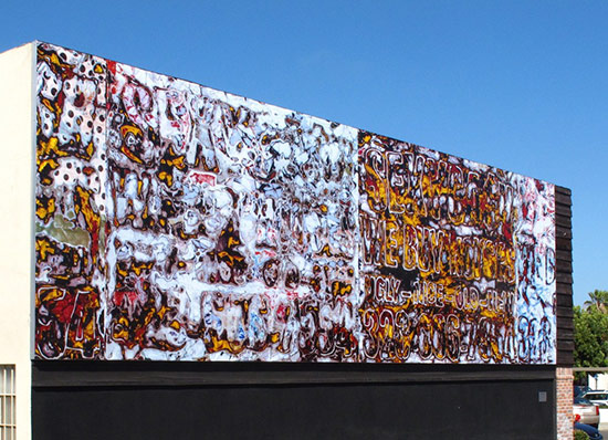 Large outdoor mural by Mark Bradford
