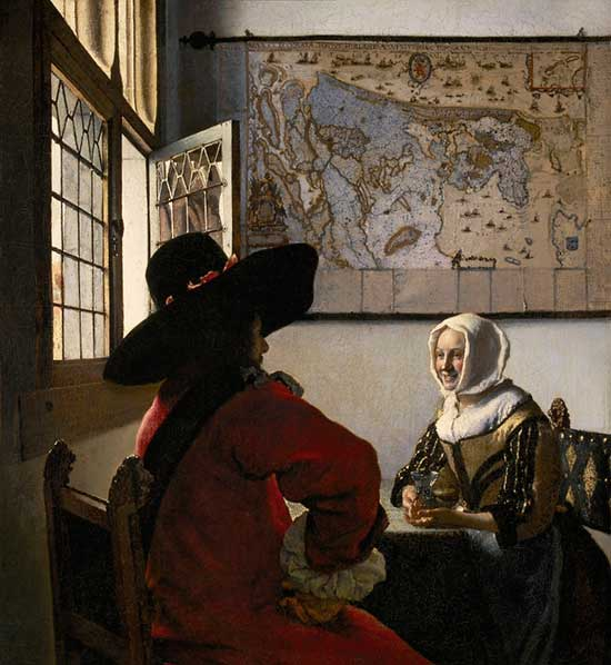"""Officer and Laughing Girl"" an oil painting by Vermeer"