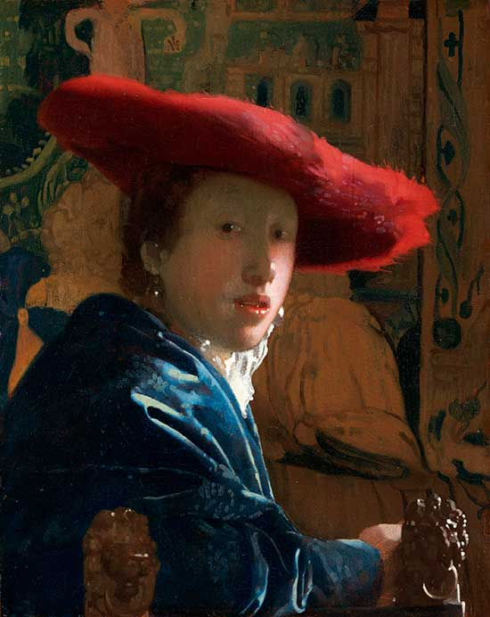 """Girl with a Red Hat"" an oil painting by Vermeer"