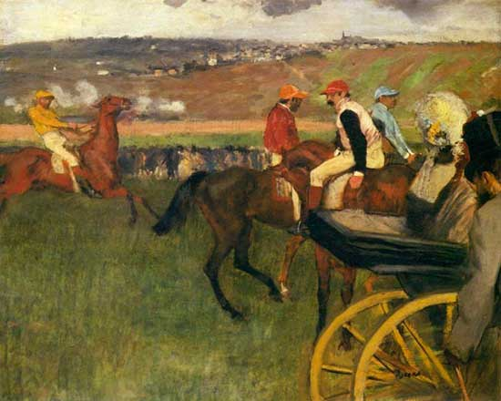 Oil painting by Edgar Degas of race horses and jockeys