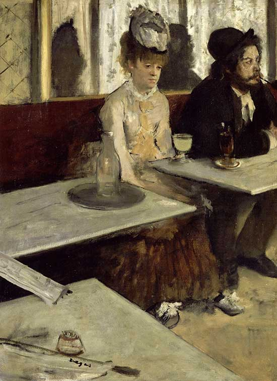 oil painting by Edgar Degas of cafe scene
