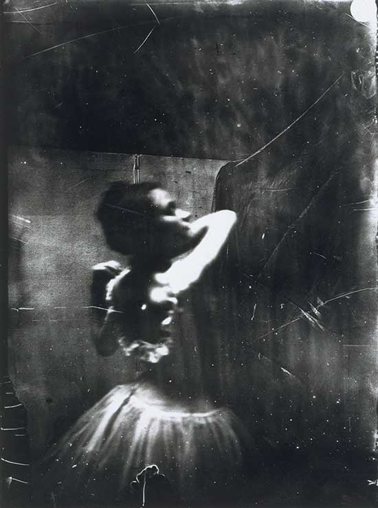 Edgar Degas black and white photograph of dancer