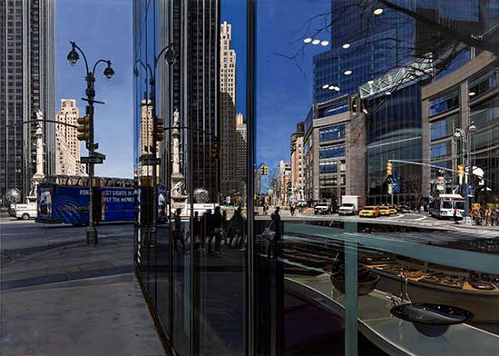 "Oil painting, ""Columbus Circle Looking North,"" by Richard Estes"