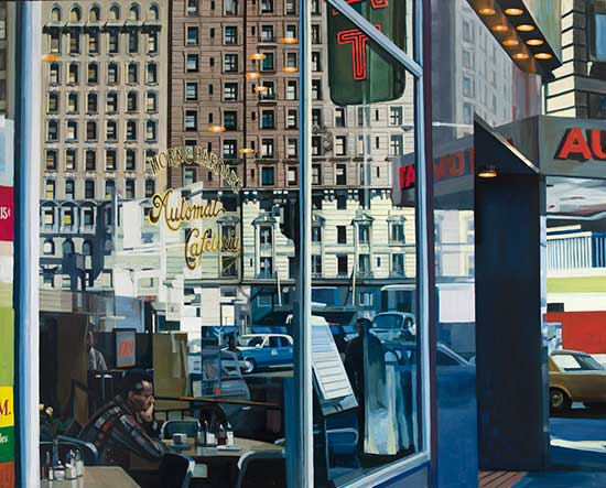 "Oil painting, ""Horn and Hardart Automat,"" by Richard Estes"