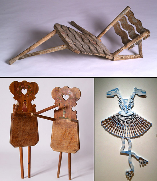 Artists' altered chairs that are anthropomorphic