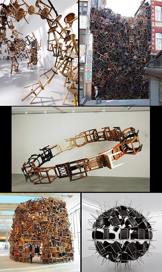 five art installations made with found chairs