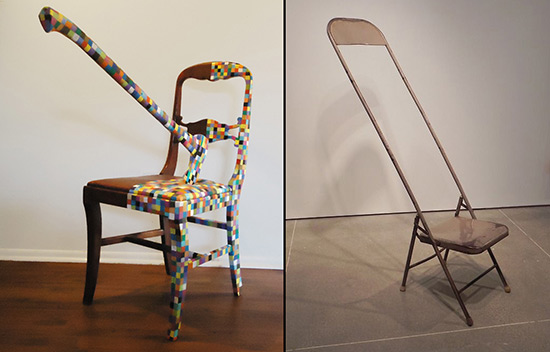 Two art chairs, one by Danny Olda, the other by Hans Gottsacker