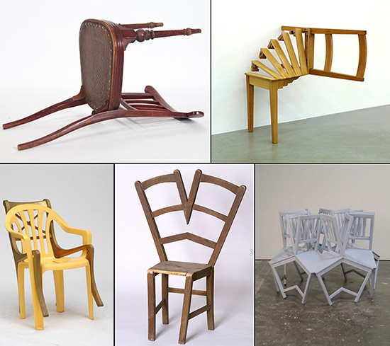 examples of five altered chairs made by artists