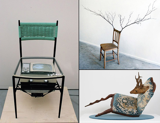 three altered art chairs by Nam June Paik, Kado Bunpei and Nina Saunders