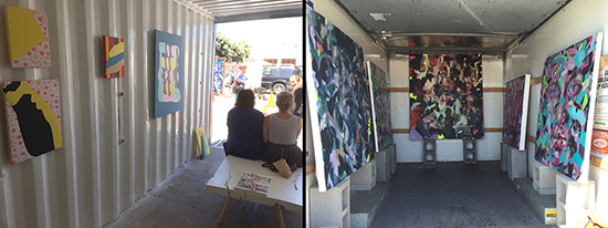 paintings exhibited in u-haul truck