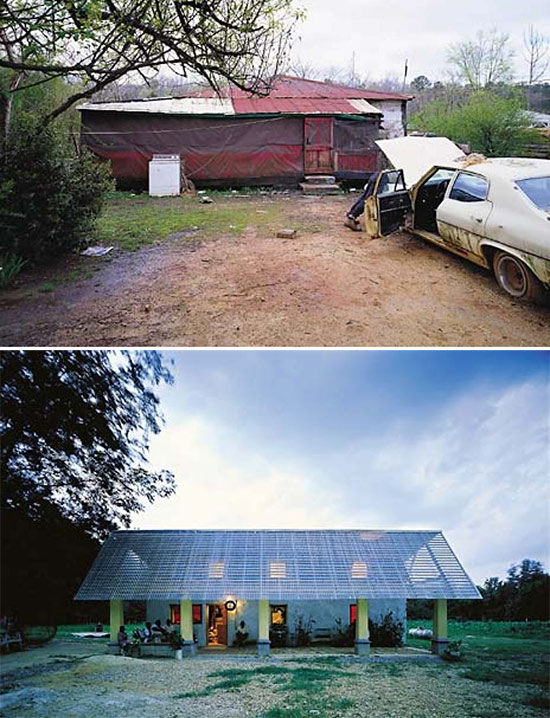 Before and after photos of the Bryant house by Samuel Mockbee and the Rural Studio