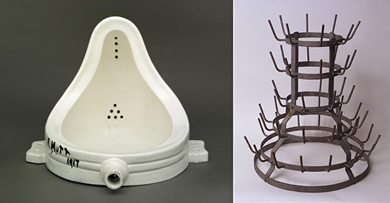 two Readymades by Marcel Duchamp, a urinal i.e. fountain, and bottle rack