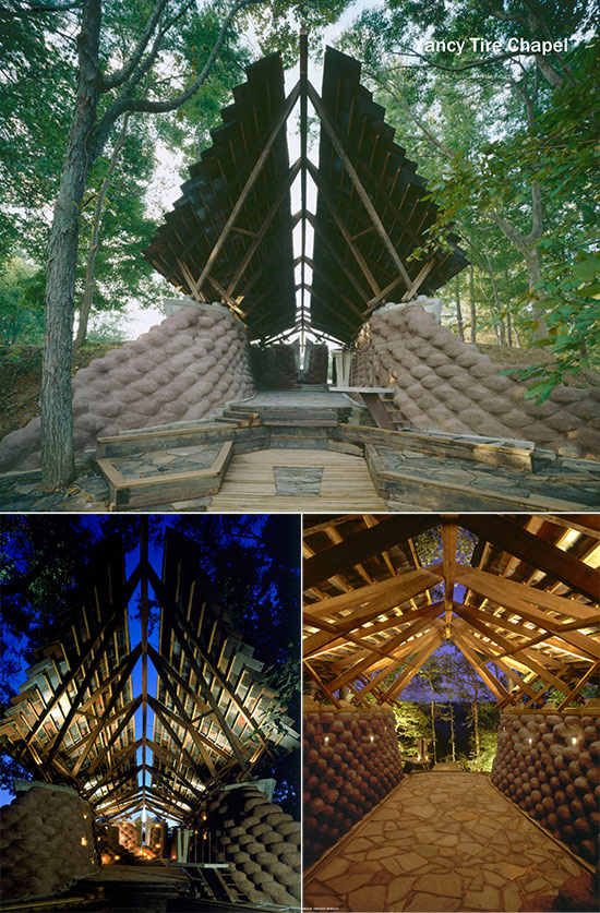 The Rural Studio's Yancy Chapel, made from recycled tires and dirt