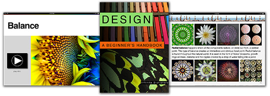 cover of design book and two pages on balance