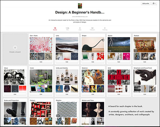 screen shot of Pinterest boards