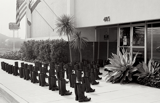 Eleanor Antin's 100 Boots at the bank