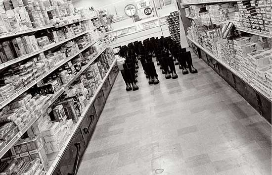 Eleanor Antin's 100 Boots at the supermarket