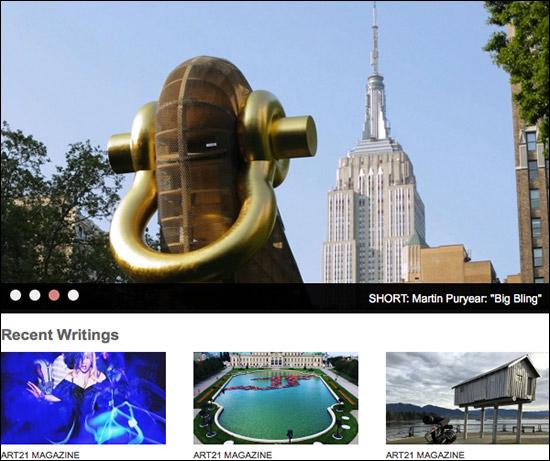 screen shot of the Art21 website