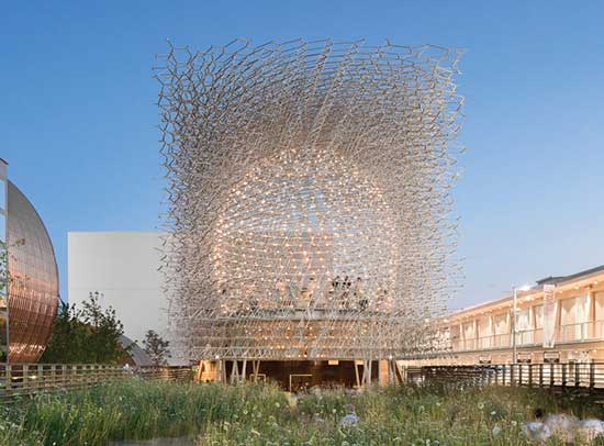 """Wolfgang Buttress's environmental installation """"The Hive,"""" that uses honeybees sounds and metal rods"""