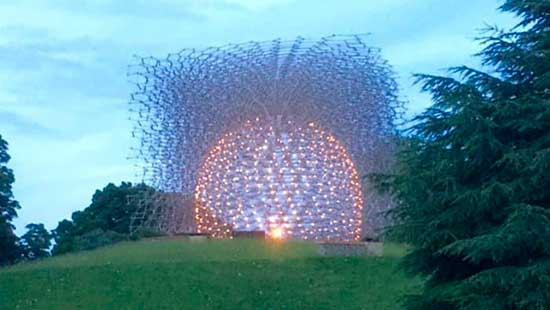 """Wolfgang Buttress's environmental installation """"The Hive,"""" that uses honeybees, sound and metal rods"""