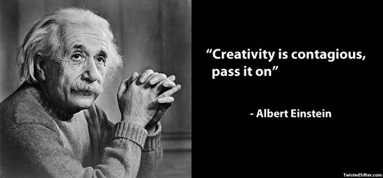 photo of Albert Einstein and a quote