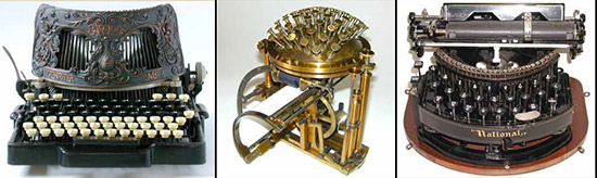 three antique typewriters