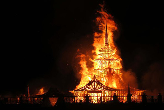 Artist David Best's burning temple