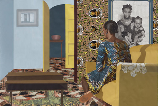 painting and collage on paper by Njideka Akunyili Crosby