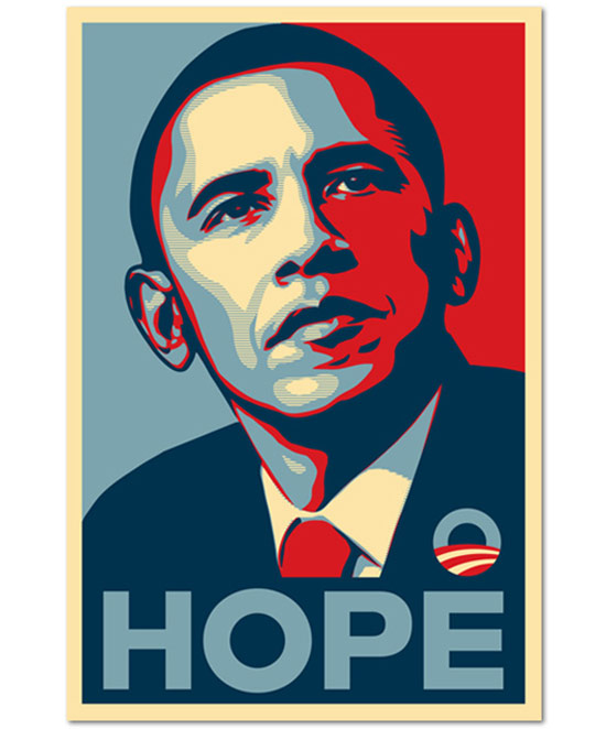 Shepard Fairey poster of Obama and the word Hope