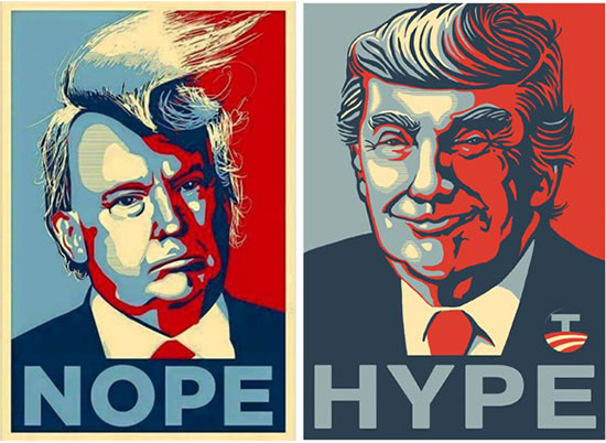 Spoof of Shepard Fairey Obama poster using Trump's image