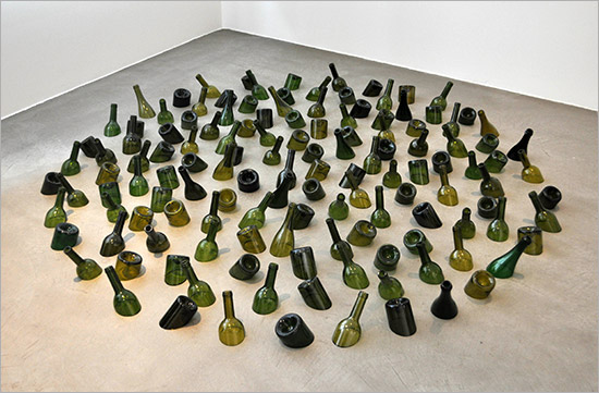 Mona Hatoum art installation with green bottles