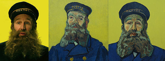 Loving Vincent 3 images- one of an actor, one of that person in a Van Gogh painting and one a handprinted film still of that person