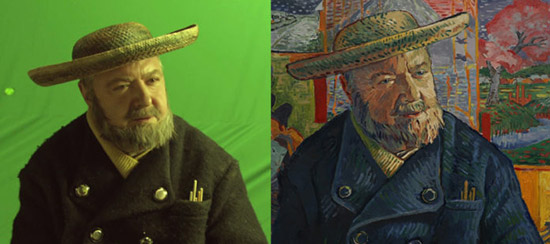 Loving Vincent hand painted still next to actor in front of a green screen
