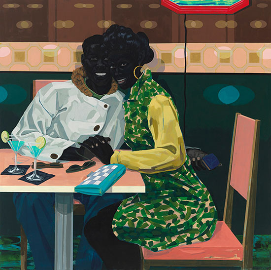 Kerry James Marshall painting of a couple in a nightclub