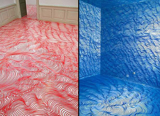 Heike Weber art installations with topographical lines