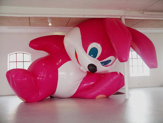 Momoyo Torimitsu sculptural installation with huge inflatable pink rabbit