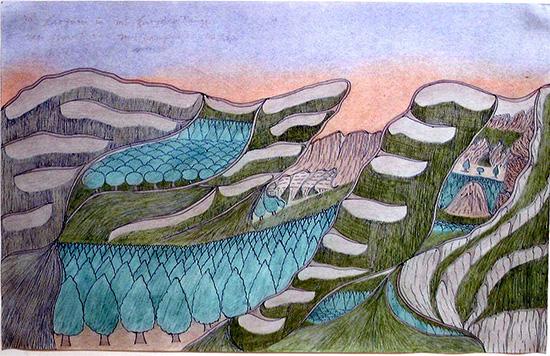 Joseph Yoakum colored landscape drawing