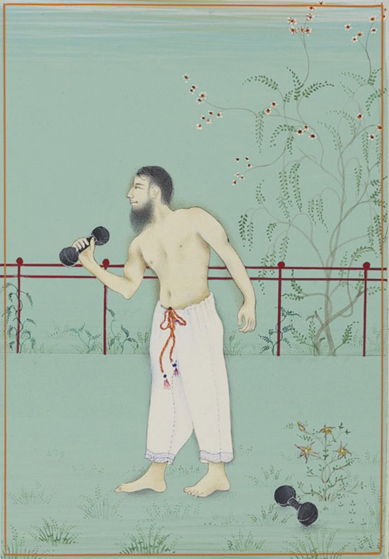 Imran Qureshi Indian style painted miniature of man with barbell